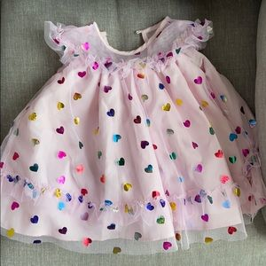Pink foil heart baby girl dress size 6/9 months